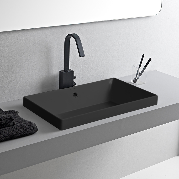 Bathroom Sink, Scarabeo 5131-49-No Hole, Rectangular Matte Black Ceramic Drop In Sink