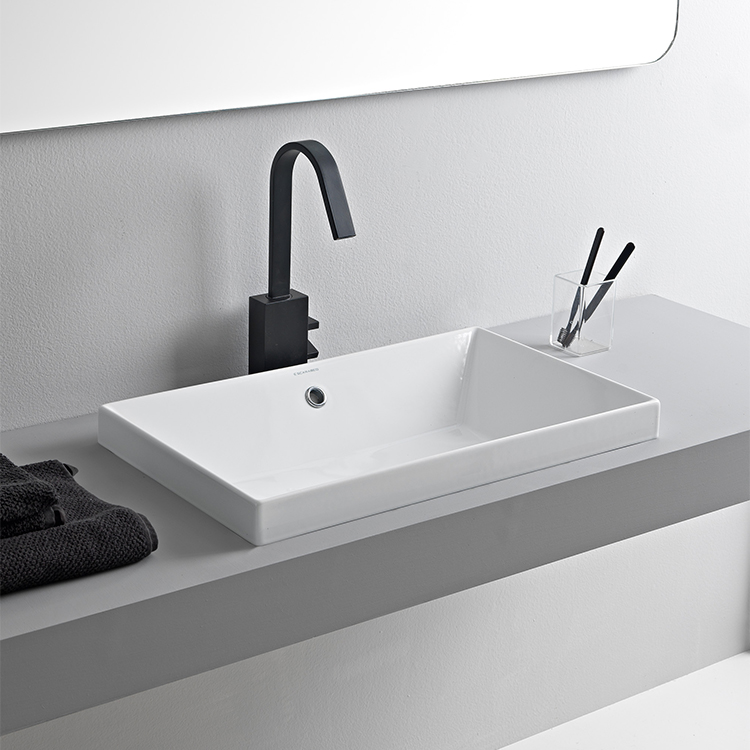 Scarabeo 5131 By Nameek S Teorema 2 Rectangular White Ceramic Drop In Sink Thebathoutlet