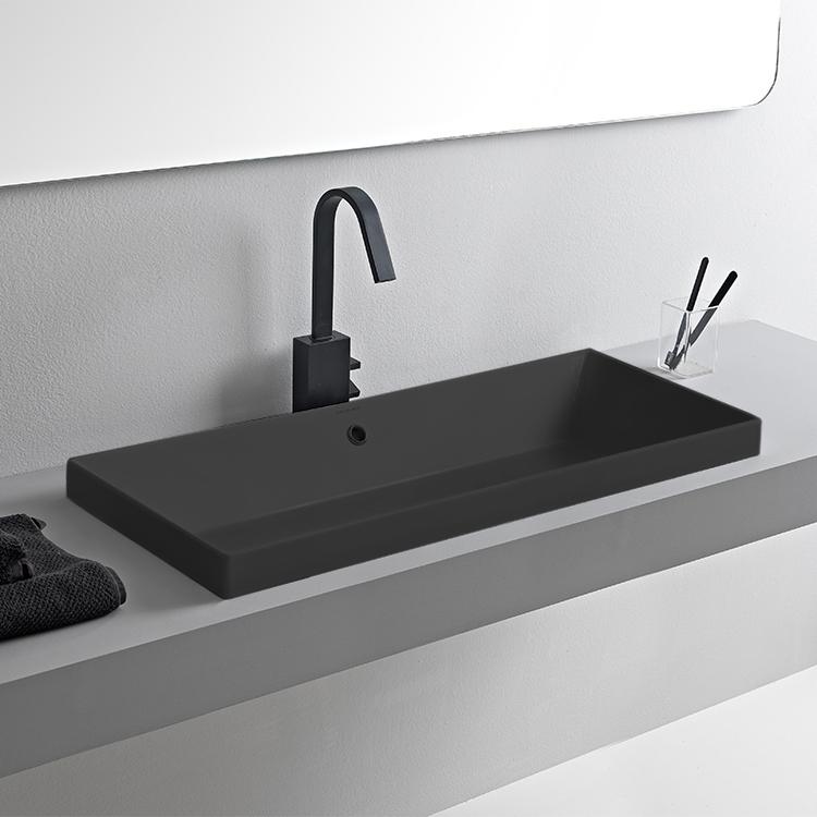 Scarabeo 5132 49 By Nameek S Teorema 2 Rectangular Matte Black Ceramic Drop In Sink Thebathoutlet