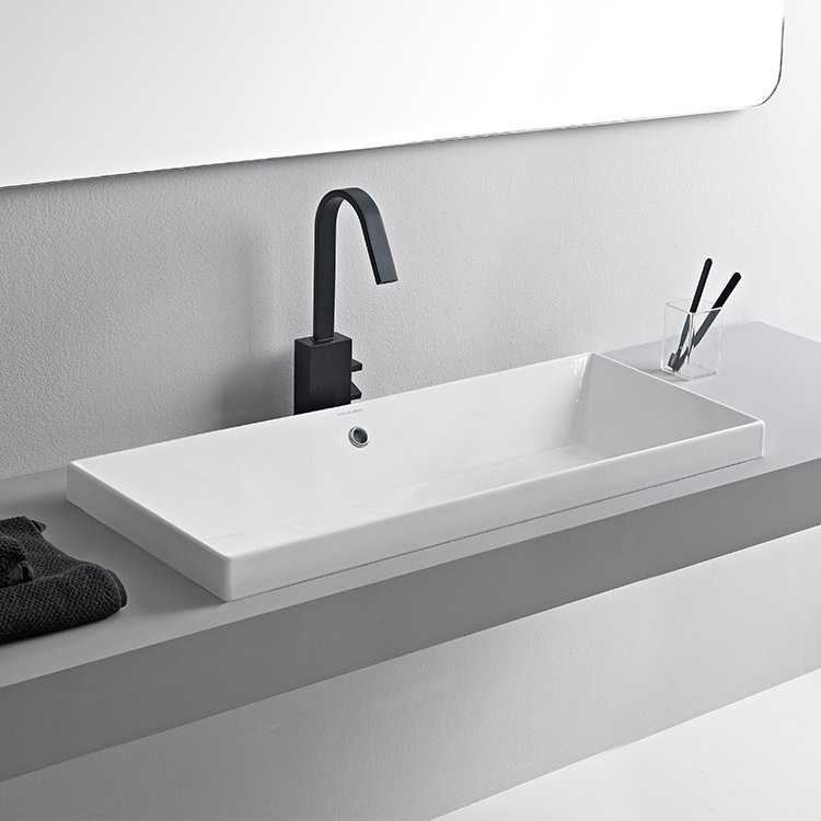 Bathroom Sink, Scarabeo 5132-No Hole, Rectangular White Ceramic Drop In Sink
