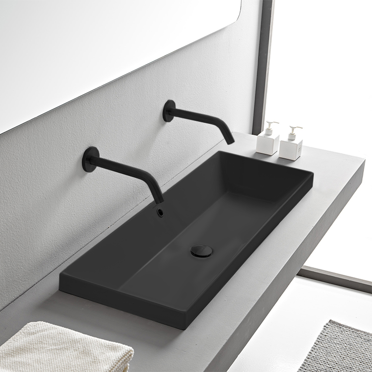 Bathroom Sink, Scarabeo 5133-49-No Hole, Rectangular Matte Black Ceramic Trough Drop In Sink