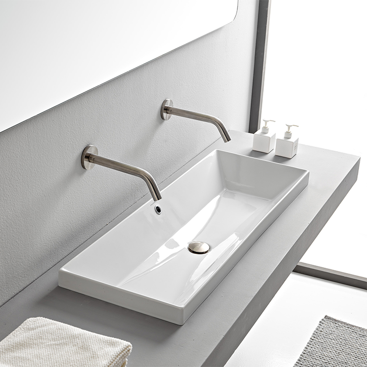 Bathroom Sink, Scarabeo 5133-No Hole, Rectangular White Ceramic Trough Drop In Sink