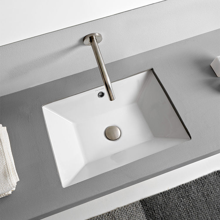 Bathroom Sink, Scarabeo 5134-No Hole, Rectangular White Ceramic Undermount Sink