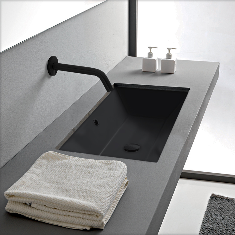 Bathroom Sink, Scarabeo 5135-49-No Hole, Rectangular Matte Black Ceramic Undermount Sink