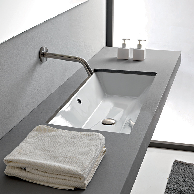 Bathroom Sink, Scarabeo 5135-No Hole, Rectangular White Ceramic Undermount Sink