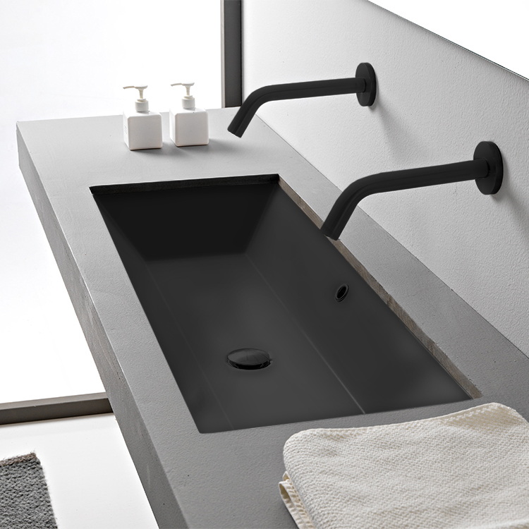 Bathroom Sink, Scarabeo 5136-49-No Hole, Rectangular Matte Black Ceramic Trough Undermount Sink
