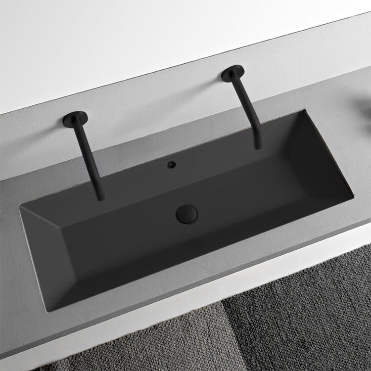 Bathroom Sink, Scarabeo 5137-49-No Hole, Rectangular Matte Black Ceramic Trough Undermount Sink