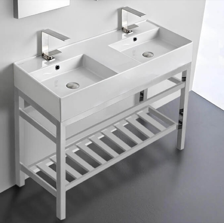 Bathroom Sink, Scarabeo 5142-CON2-Two Hole, Double Ceramic Wall Mounted Sink With Polished Chrome Stand