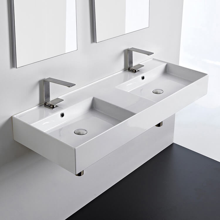 Bathroom Sink, Scarabeo 5143-Two Hole, Double Rectangular Ceramic Wall Mounted or Vessel Sink With Counter Space