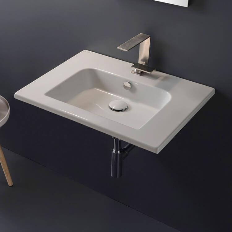 Scarabeo 5210 By Nameek S Etra Sleek Rectangular Ceramic Wall Mounted Sink Thebathoutlet