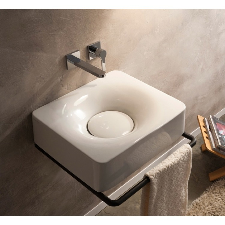 Bathroom Sink, Scarabeo 6001-No Hole, Rectangular White Ceramic Wall Mounted or Vessel Sink