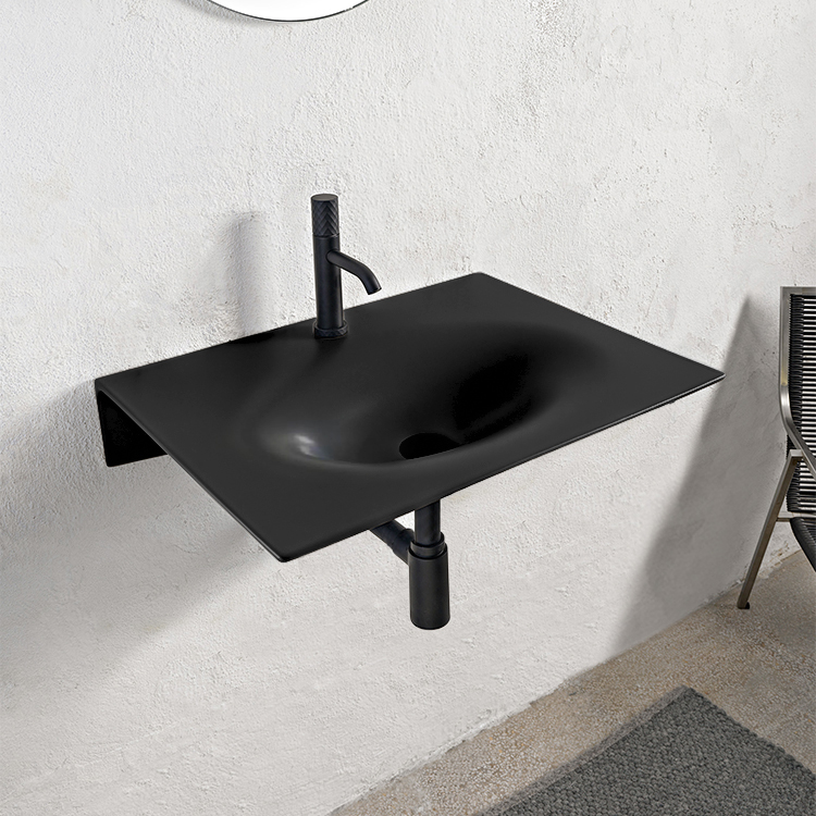 Bathroom Sink, Scarabeo 6102-49-One Hole, Ultra Thin Rectangular Matte Black Ceramic Wall Mounted Sink