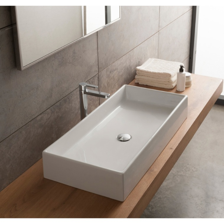 Bathroom Sink, Scarabeo 8031/80-No Hole, Rectangular White Ceramic Vessel Sink