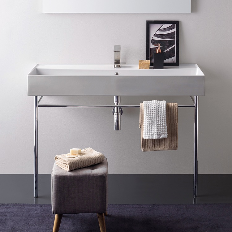 Bathroom Sink, Scarabeo 8031/R-120A-CON-One Hole, Large Rectangular Ceramic Console Sink and Polished Chrome Stand