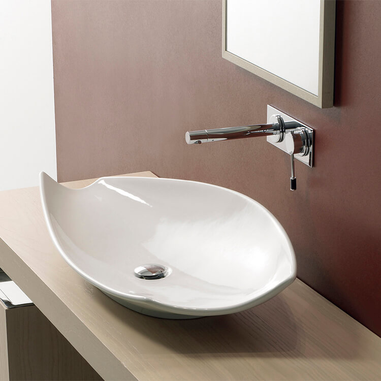Bathroom Sink, Scarabeo 8052-No Hole, Oval-Shaped White Ceramic Vessel Sink