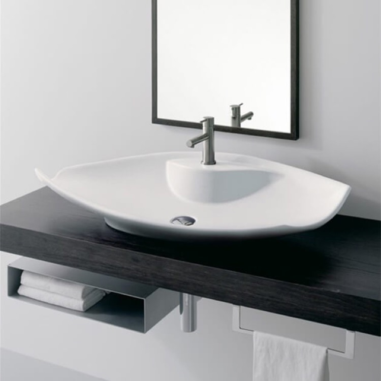 Bathroom Sink, Scarabeo 8053/R-One Hole, Oval-Shaped White Ceramic Vessel Sink