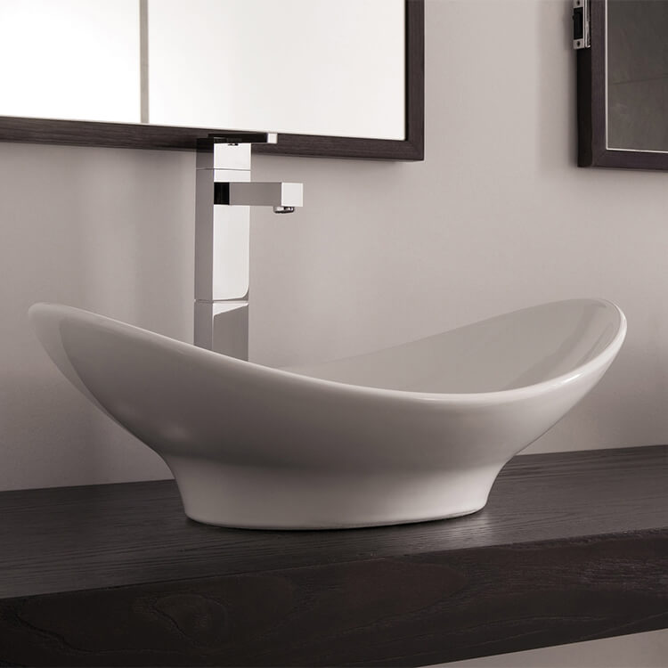 Bathroom Sink, Scarabeo 8207-No Hole, Oval-Shaped White Ceramic Vessel Sink