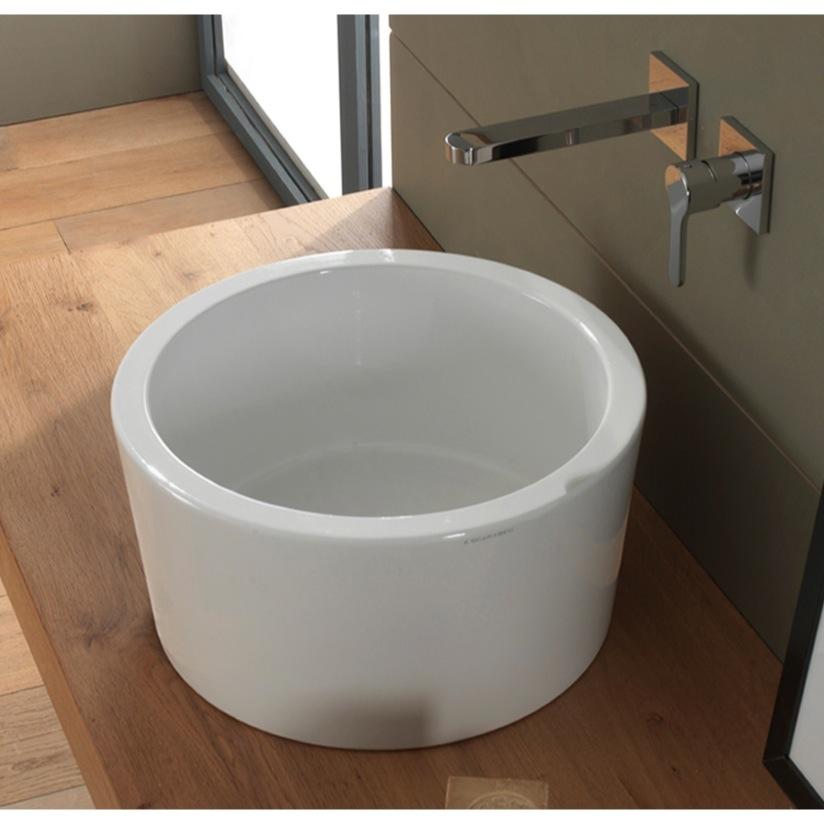 Merveilleux Bathroom Sink, Scarabeo 8807, Round White Ceramic Vessel Sink