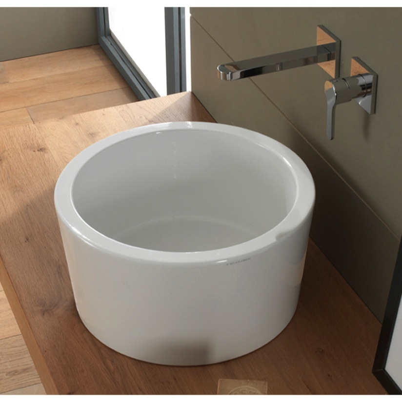 Bathroom Sink, Scarabeo 8808, Round White Ceramic Vessel Sink
