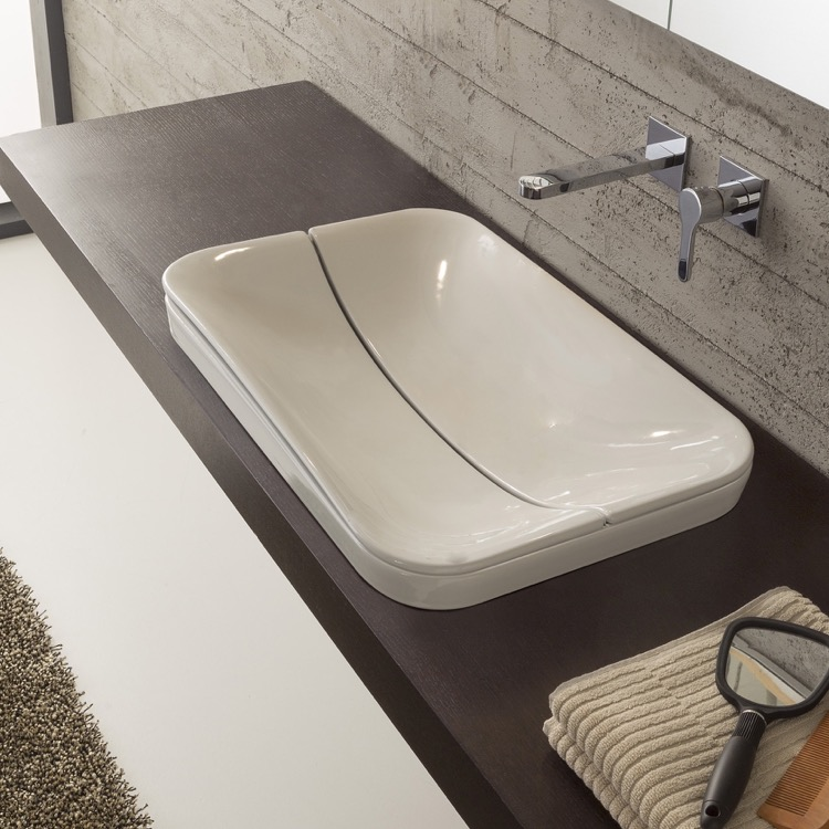 Bathroom Sink, Scarabeo 9004, Rectangular White Ceramic Drop In Sink with Cover