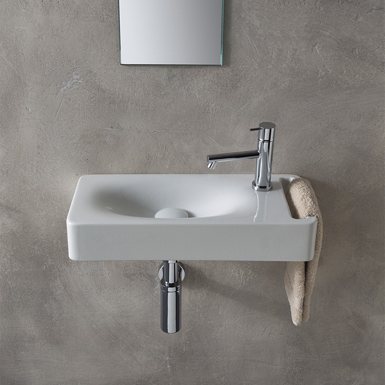 Bathroom Sink, Scarabeo 1511-One Hole, Rectangular White Ceramic Wall Mounted Sink With Towel Holder