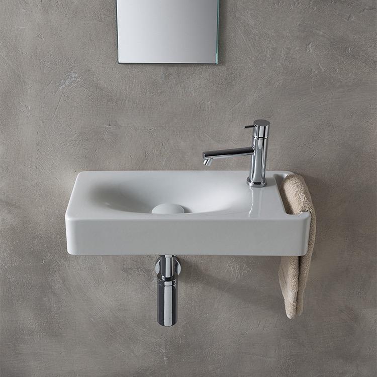 Wall Mounted Rectangular Sink : Sink, Scarabeo 1511, Rectangular White Ceramic Wall Mounted Sink ...