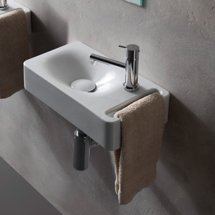 Bathroom Sink, Scarabeo 1513-One Hole, Rectangular White Ceramic Wall Mounted Sink With Towel Holder