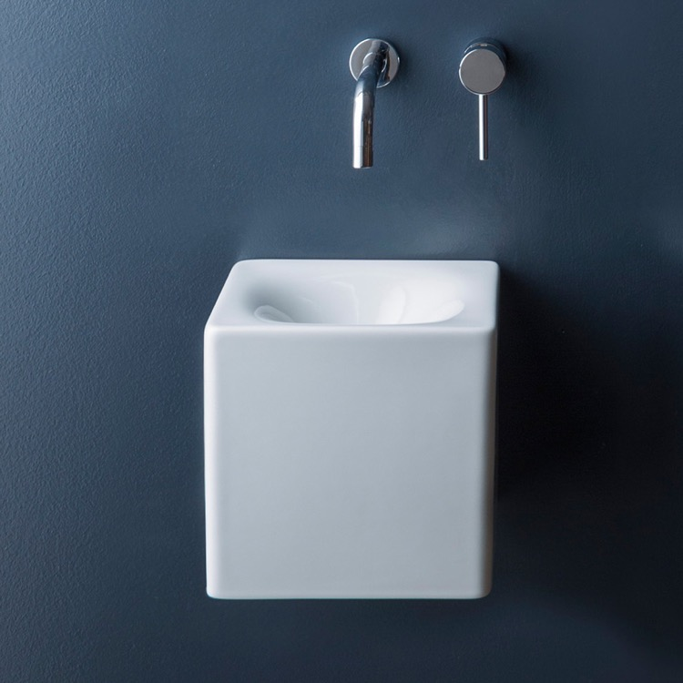 Bathroom Sink, Scarabeo 1521-No Hole, Square White Ceramic Wall Mounted or Vessel Sink