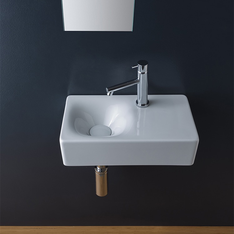 Bathroom Sink, Scarabeo 1523-One Hole, Rectangular Ceramic Wall Mounted or Vessel Sink With Counter Space