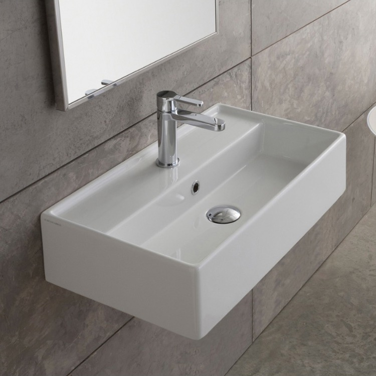 Bathroom Sink, Scarabeo 5001-One Hole, Rectangular White Ceramic Wall Mounted or Vessel Sink