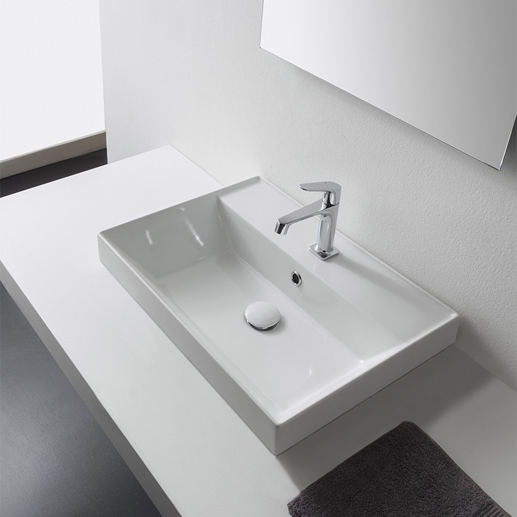 Bathroom Sink, Scarabeo 5109-One Hole, Rectangular White Ceramic Drop In Sink