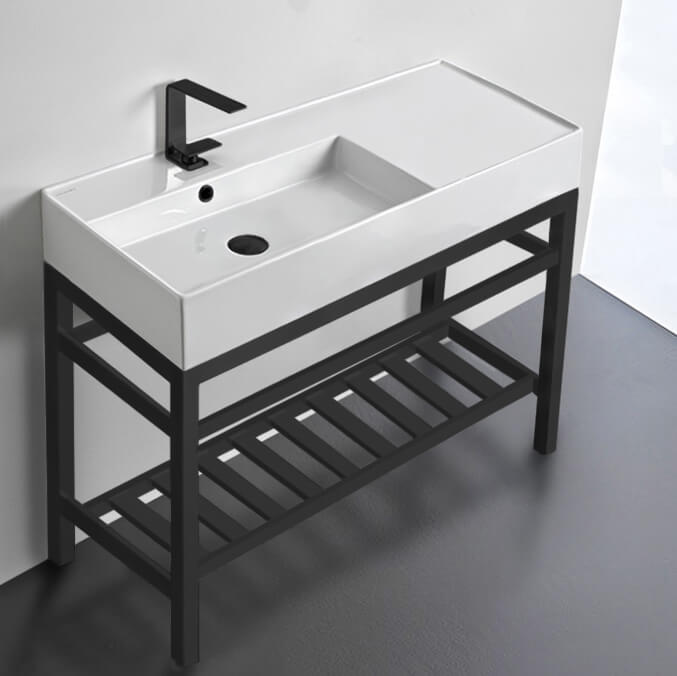Bathroom Sink, Scarabeo 5119-CON2-BLK-One Hole, Modern Ceramic Console Sink With Counter Space and Matte Black Base