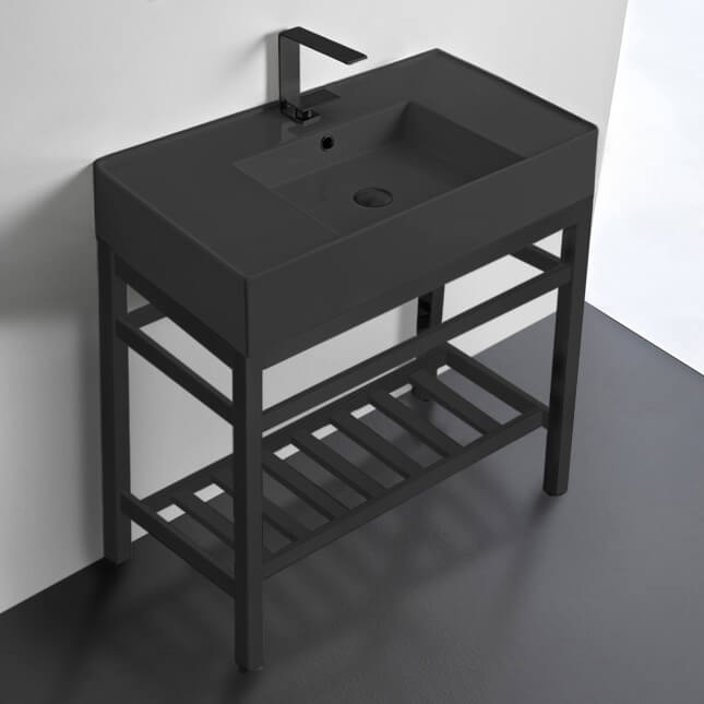 Bathroom Sink, Scarabeo 5123-49-CON2-BLK-One Hole, Modern Matte Black Ceramic Console Sink and Matte Black Base