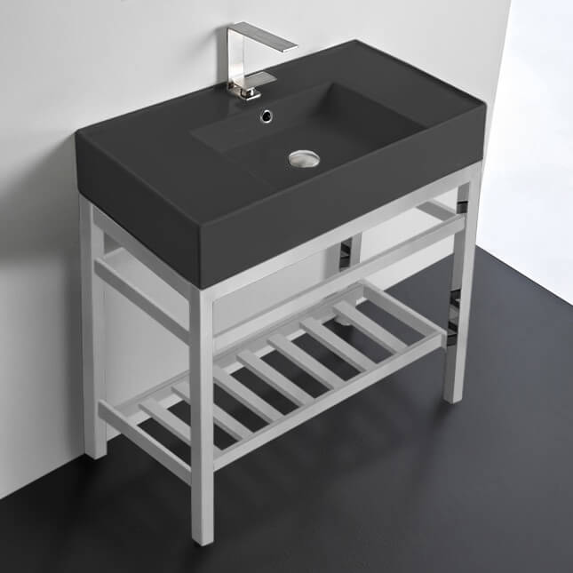 Bathroom Sink, Scarabeo 5123-49-CON2-One Hole, Modern Matte Black Ceramic Console Sink and Polished Chrome Base