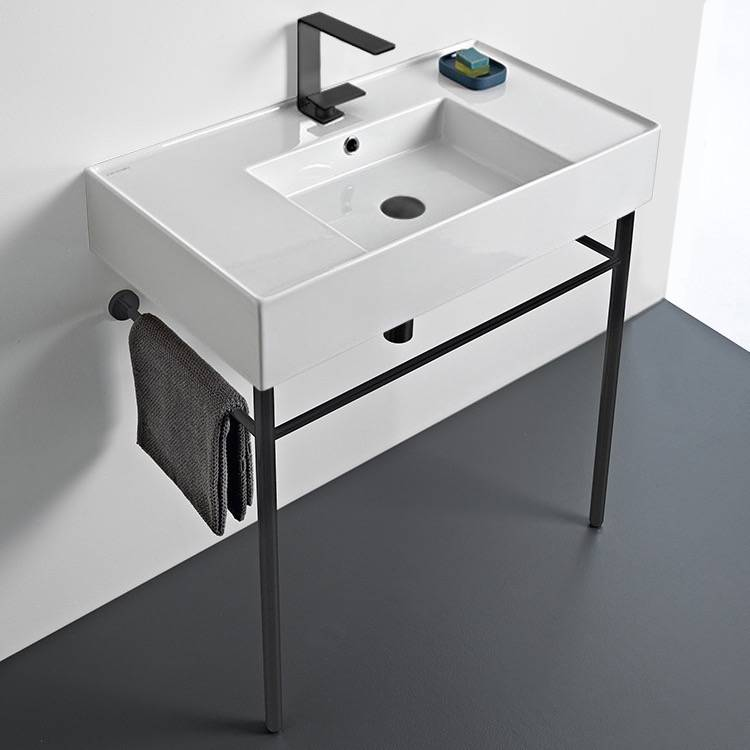 Bathroom Sink, Scarabeo 5123-CON-BLK-One Hole, Ceramic Console Sink and Matte Black Stand