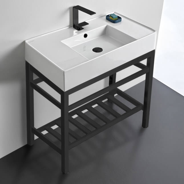 Bathroom Sink, Scarabeo 5123-CON2-BLK-One Hole, Modern Ceramic Console Sink With Counter Space and Matte Black Base