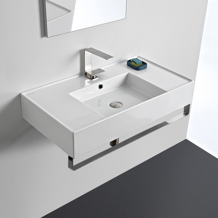 Bathroom Sink, Scarabeo 5123-TB-One Hole, Rectangular Ceramic Wall Mounted Sink With Counter Space, Includes Towel Bar