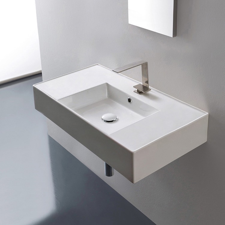 Bathroom Sink, Scarabeo 5123-One Hole, Rectangular Ceramic Wall Mounted or Vessel Sink With Counter Space