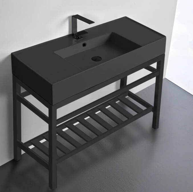 Bathroom Sink, Scarabeo 5124-49-CON2-BLK-One Hole, Modern Matte Black Ceramic Console Sink and Matte Black Base
