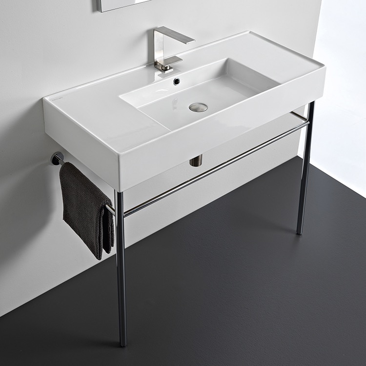 Bathroom Sink, Scarabeo 5124-CON-One Hole, Rectangular Ceramic Console Sink and Polished Chrome Stand