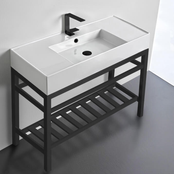 Bathroom Sink, Scarabeo 5124-CON2-BLK-One Hole, Modern Ceramic Console Sink With Counter Space and Matte Black Base