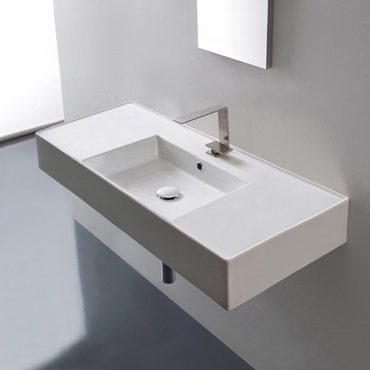 Bathroom Sink, Scarabeo 5124-One Hole, Rectangular Ceramic Wall Mounted or Vessel Sink With Counter Space