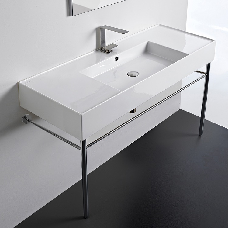 Bathroom Sink, Scarabeo 5125-CON-One Hole, Rectangular Ceramic Console Sink and Polished Chrome Stand