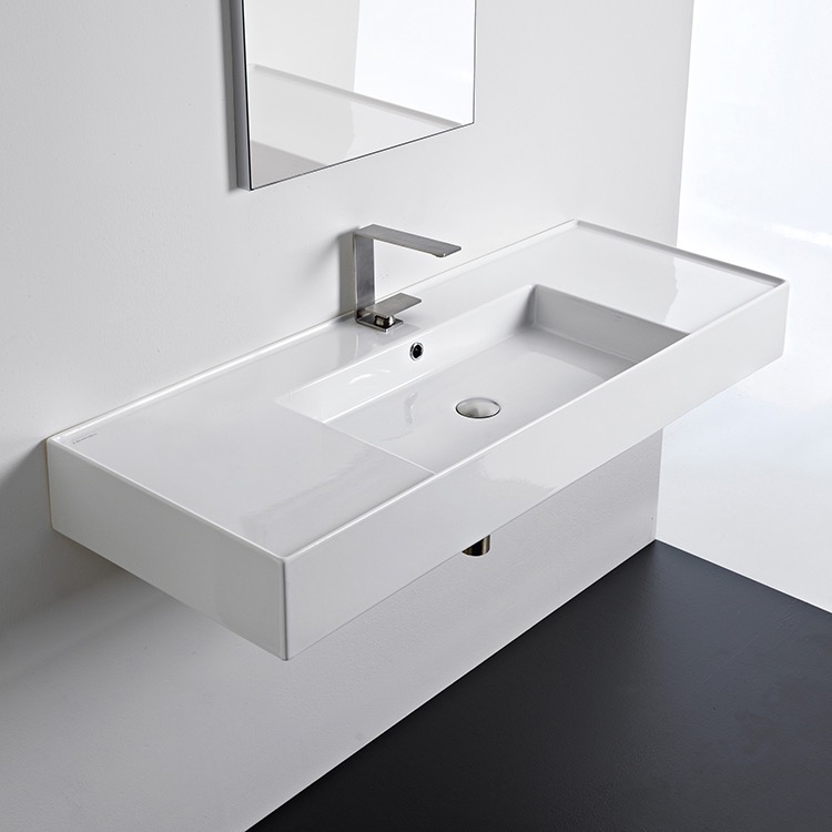 Bathroom Sink, Scarabeo 5125, Rectangular Ceramic Wall Mounted or Vessel Sink With Counter Space