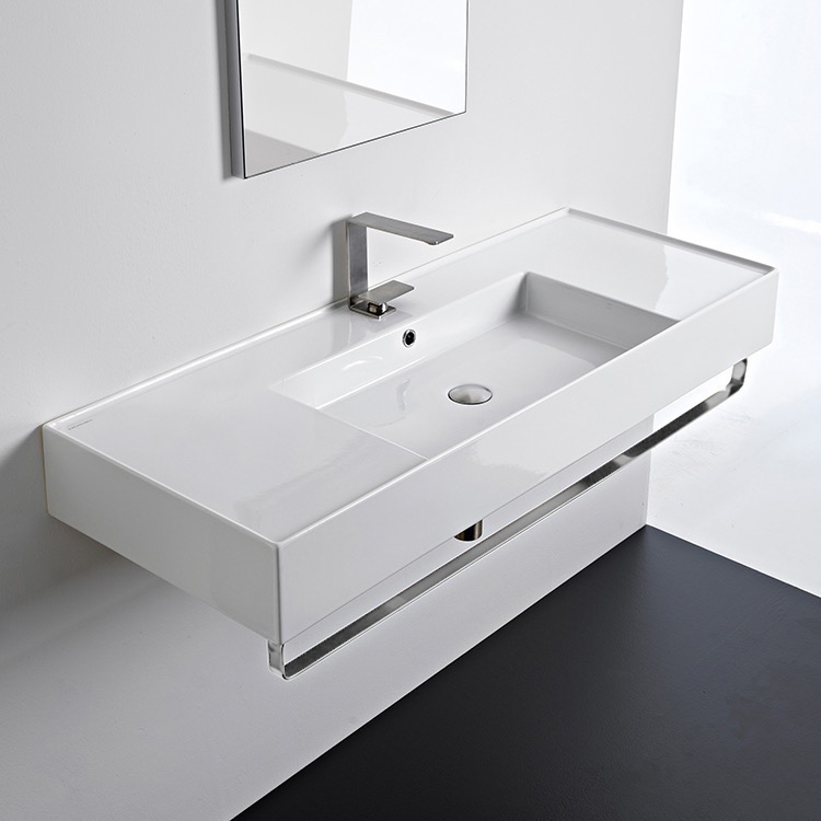 Bathroom Sink, Scarabeo 5125-TB-One Hole, Rectangular Ceramic Wall Mounted Sink With Counter Space, Includes Towel Bar