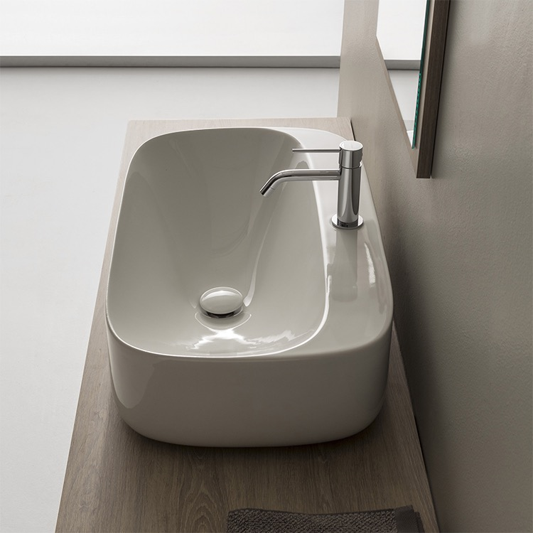 Bathroom Sink, Scarabeo 5505-One Hole, Oval White Ceramic Vessel Bathroom Sink