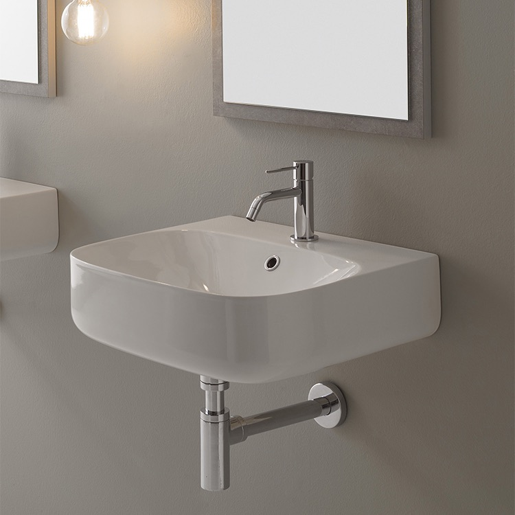 Bathroom Sink, Scarabeo 5507-One Hole, Round White Ceramic Wall Mounted Sink