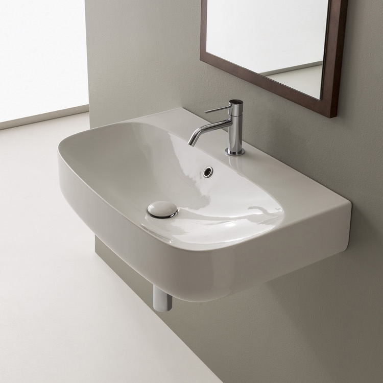 Bathroom Sink, Scarabeo 5508-One Hole, Round White Ceramic Wall Mounted Sink