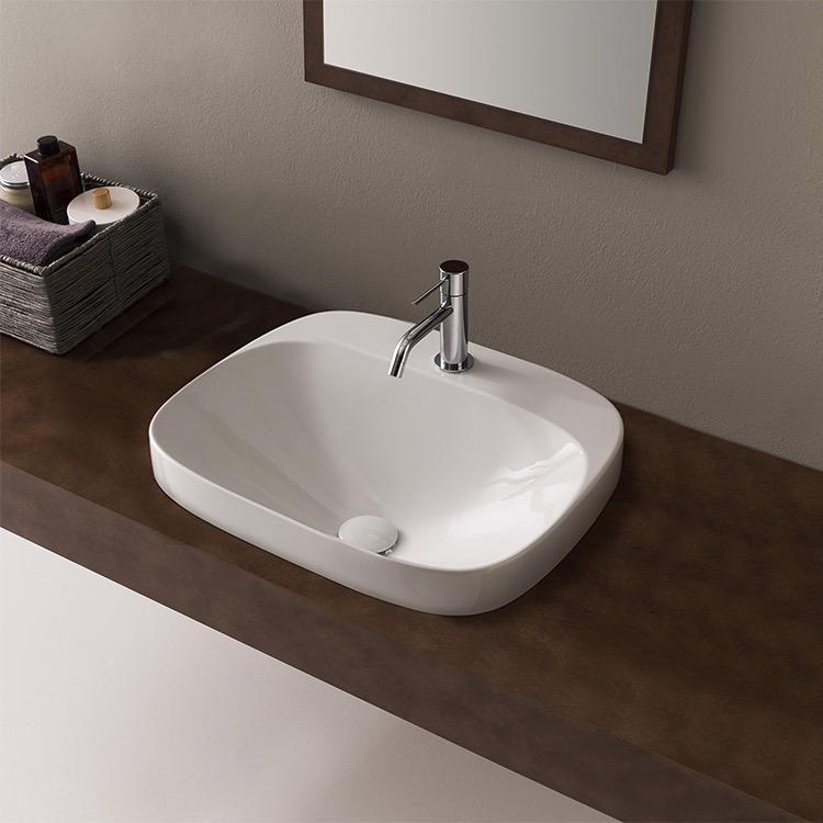 Bathroom Sink, Scarabeo 5511-One Hole, Round White Ceramic Drop In Sink