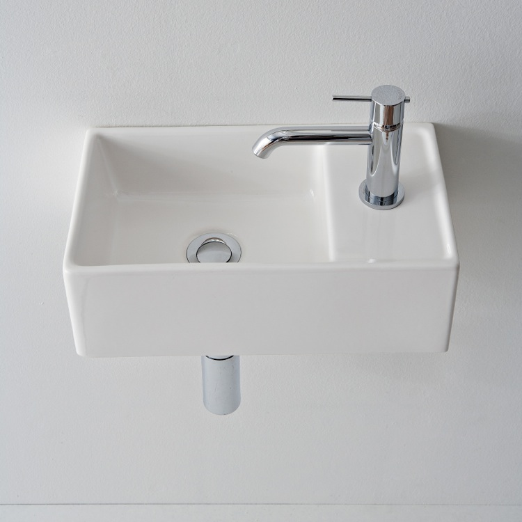 Bathroom Sink, Scarabeo 8031/R-41-One Hole, Rectangular White Ceramic Wall Mounted or Vessel Sink